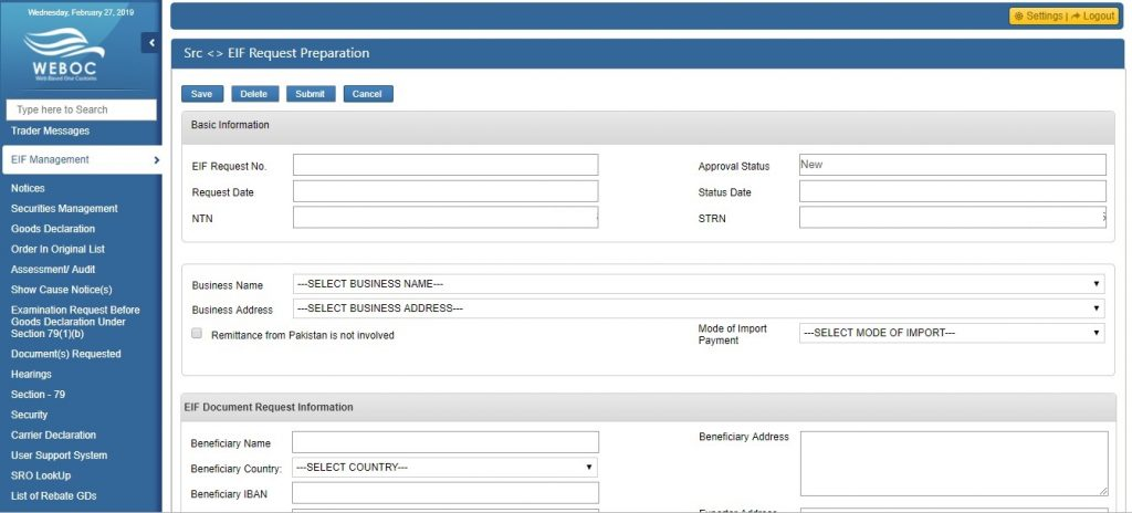how to fill WeBOC EIF request form